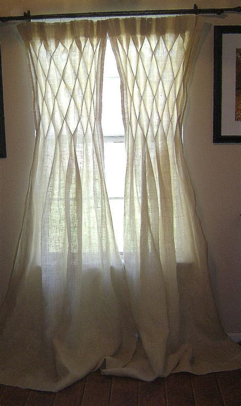 burlap smocked curtains drapes in or ivory the