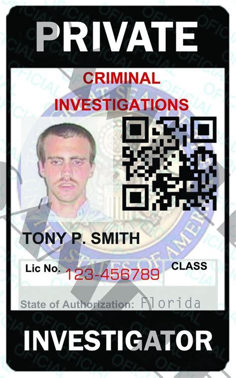 custom private investigator id card template pia