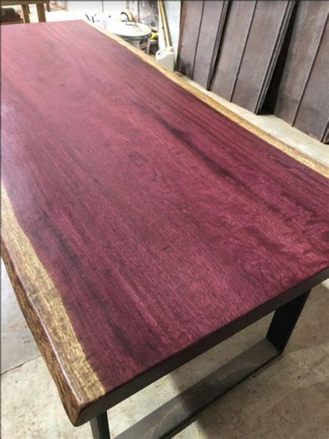 edge dining table purple heart  steel legs