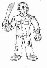 Jason Voorhees Drawing Deviantart Coloring Pages Scary Halloween Drawings Friday Sheets Creepy Adult Wix sketch template