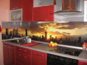 Contemporary Kitchen Backsplash Ideas Colorful Glass Backsplash Ideas Adding Digital Prints To Modern Kitchen Design