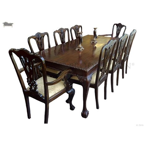 chippendale dining table and chair 8 seater