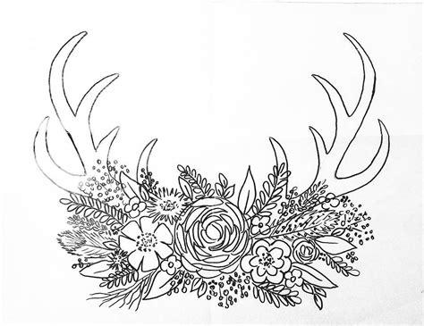 printable coloring sheet deer antler traceable