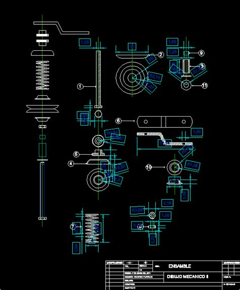 assembly cut pieces  spring dwg block  autocad