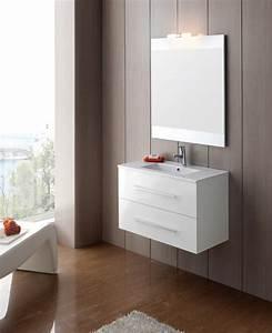 Meuble De Salle : meuble salle de bain ancomalin 80 suspendu blanc ~ Nature-et-papiers.com Idées de Décoration