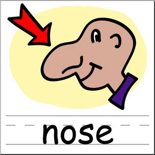 clip art basic words nose color labeled  abcteachcom