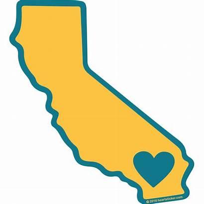 California Heart Shape Clipart State Sticker Outline