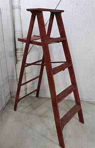 Wooden, 5, U0026, 39, Vintage, Rusty, Red, Step, Ladder, For, Home, Decor