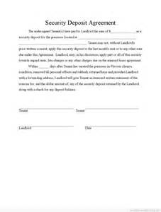 Security Deposit Agreement Form
