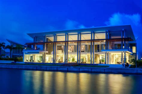 ultra modern  luxurious waterfront caribbean home