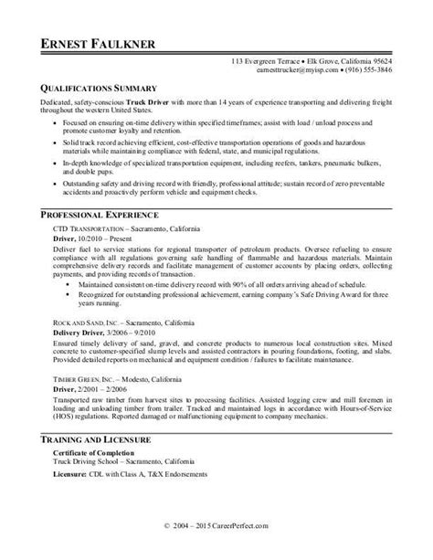 Duties Of A Truck Driver For Resume by Truck Driver Resume Sle