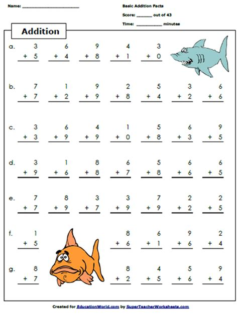 free math worksheets for teachers addition worksheet education world