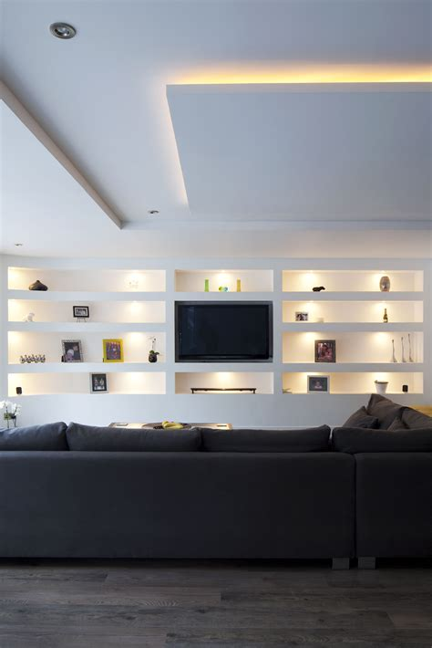 Living Room Shelf Plans by Living Room Open Plan Seating Feature Built In Wall