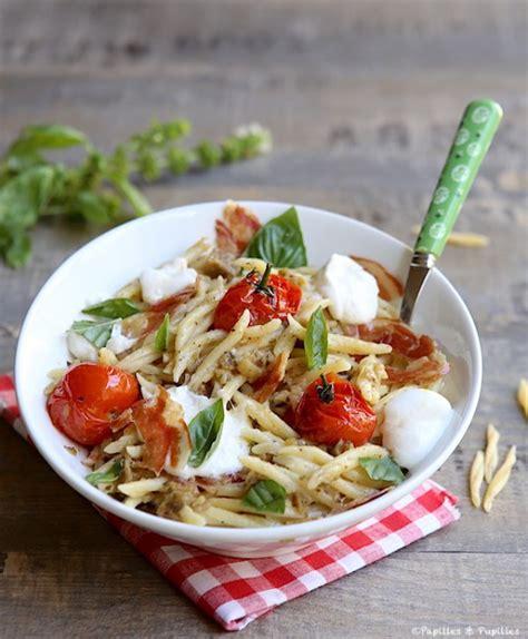 trofie au pesto d aubergines burrata tomates cerise et