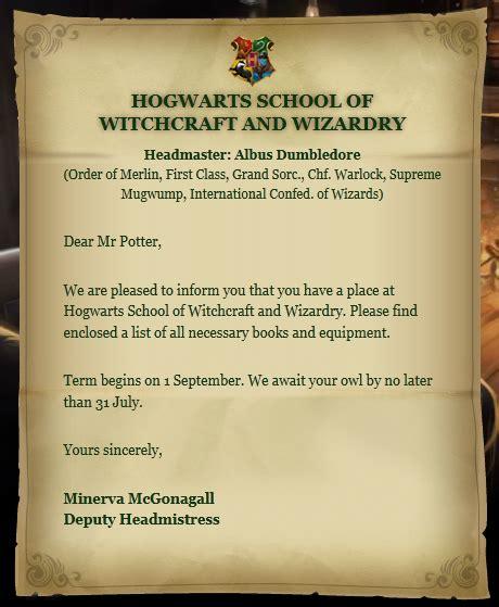 hogwarts acceptance letter harry potter wiki