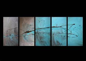 Abstract canvas painting turquoise brown modern wall