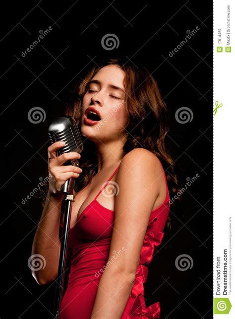 beautiful singer singing  microphone royalty