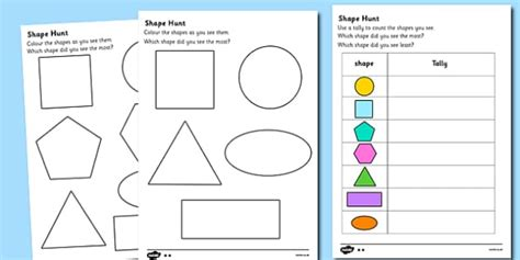 Shape Hunt Worksheet  Numeracy, Geometry, Shapes, 2d, Shape Hunt Worksheet