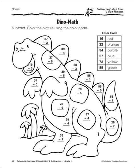 subtraction color by number coloring pages subtraction color by number free 101