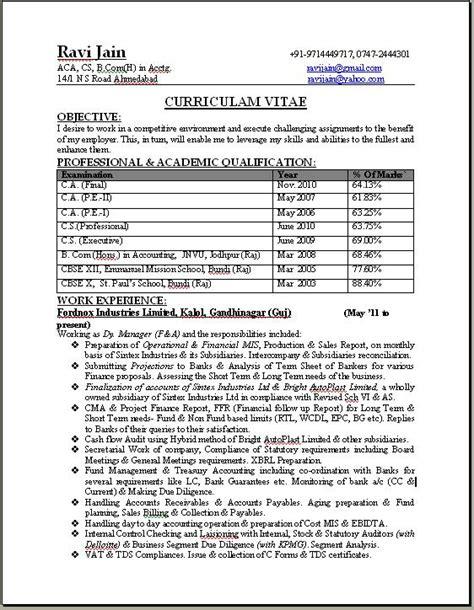 Resume for fresher student