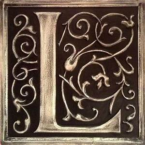 Letter plaque l distressed black by marie ricci for Letter plaques