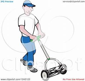Clipart Of A Cartoon Gardener Man Using A Manual Lawn