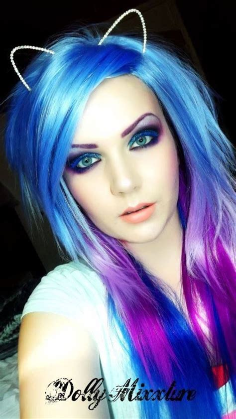 Blue Pink And Purple Hair And Makeup Love It Scene