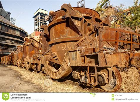 rusty train rusty train at abandoned steel mill stock photo image