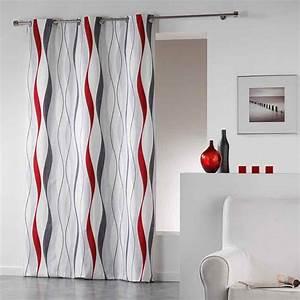 Rideau Gris Et Rouge : rideau imprim ruban ondul rouge bleu naturel ~ Teatrodelosmanantiales.com Idées de Décoration