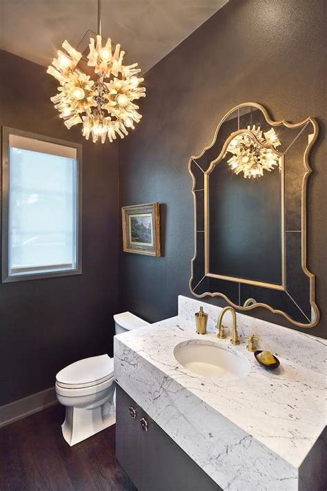 powder room mirror powder room contemporary with bathroom gray and gold powder room with marble vanity