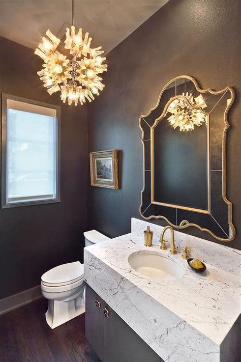 gray  gold powder room  marble vanity