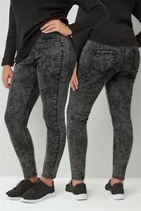 Dark Grey Acid Wash Skinny Jeggings Plus Size 16 To 32