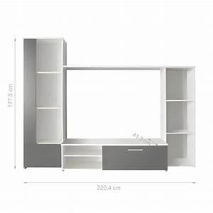 Meuble Tv Avec Etagere : finlandek meuble tv mural pilvi 220cm blanc et gris achat vente meuble tv pas cher couleur ~ Teatrodelosmanantiales.com Idées de Décoration