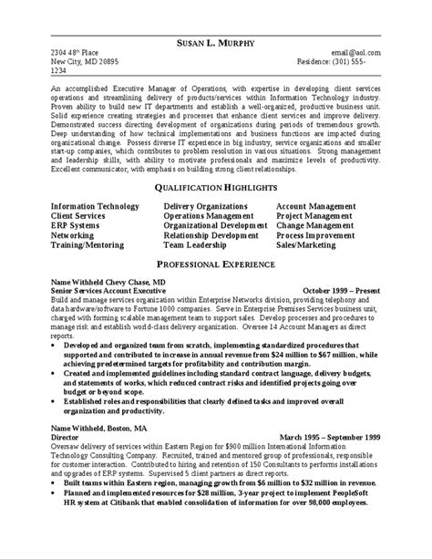 Executive Resume Summary Sle by 4 Executive Summary Outline Resume 28 Images 8