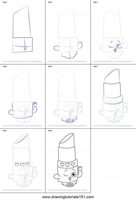 draw lippy lips  shopkins printable step