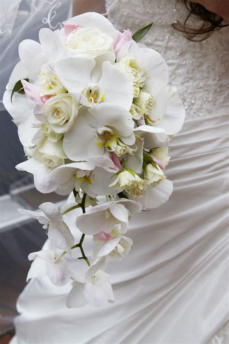 trailing orchid  spray rose bridal bouquet