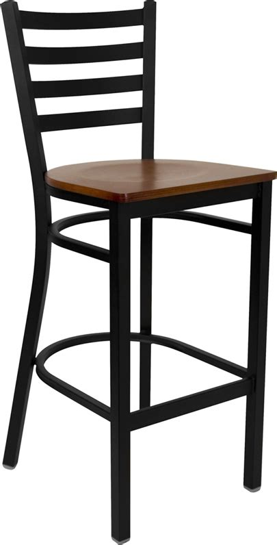black ladder back chairs with seats black ladder back metal restaurant barstool with cherry 9771