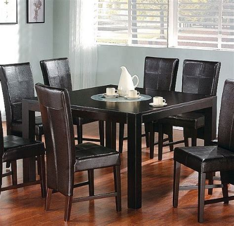 9pc cappuccino dining table w lazy susan brown parson