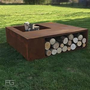 Range Bois Exterieur : brasero design avec rangement range bois pour buches en ~ Edinachiropracticcenter.com Idées de Décoration