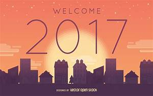 Welcome 2017 sunset poster - Free Vector