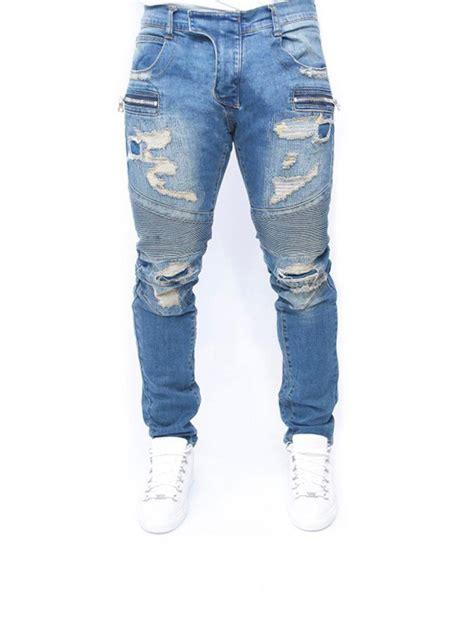 Prada Ripped Bluejeans 2019 light blue ripped design draped slim fit