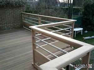 terrasse bois sur pilotis avec garde corps bois et inox With garde corps terrasse inox
