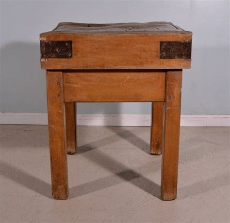 Antique French Butcher Block Table Island, Yesteryear