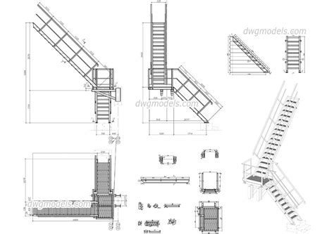 54 dwg stairs metal stairs cad drawings caddetailscom martineouellet org