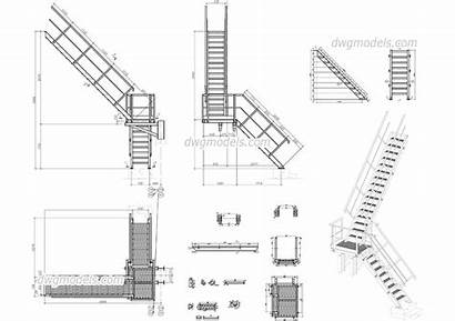 Stair Metal Staircase Autocad Drawings Wooden Cad