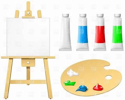 Easel Board Palette Blank Paint Vector Clip