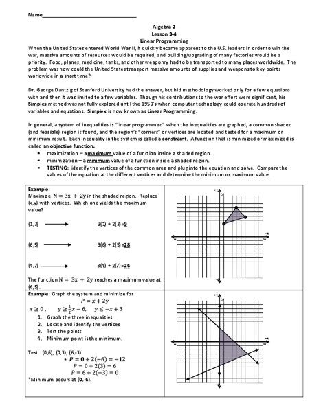 linear programming worksheet for 9th 12th grade lesson