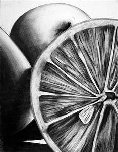 still life of objects - charcoal - student drawing | Food ...
