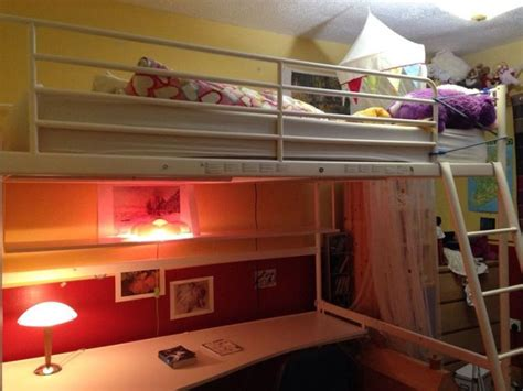 ikea tromso double loft bed with desk and bookshelf for
