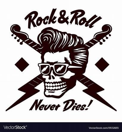Roll Rock Rockabilly Vector Skull Hairstyle Never